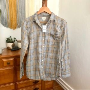 NWT J. Crew Plaid Button Up Size XS